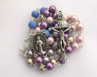 Pink, Purple and Beige Rosary