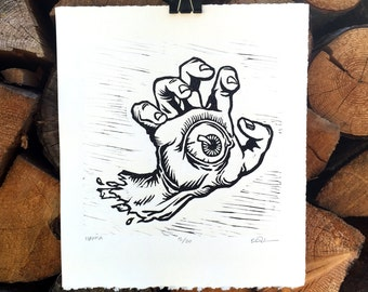 Screaming Hamsa Linocut
