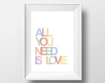 60% OFF All You Need Is Love Print, Love Typography Wall Art, Nursery Decor, Nursery Wall Art, Nursery Gift, All You Need Is Love Poster
