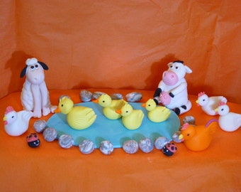 Farm Animals Edible sugar paste decoration cake cupcake topper birthday party