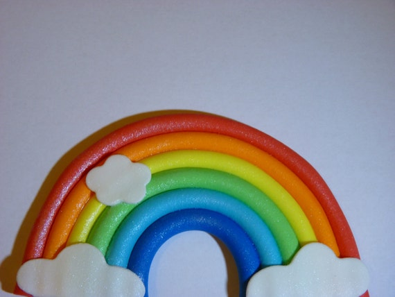 Small Rainbow Edible sugar paste cake topper decoration
