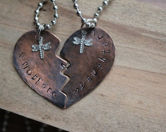 Mother, Daughter Hand-stamped Heart necklaces