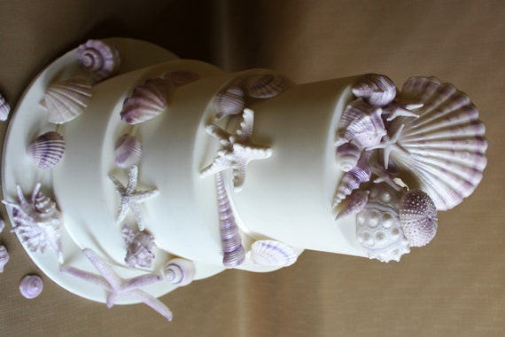 edible sea shells cake topper wedding cake ocean themed cake. Black Bedroom Furniture Sets. Home Design Ideas