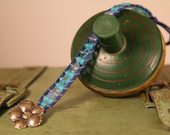 Single Wrap Bracelet with turquoise and blue beads. Silver button