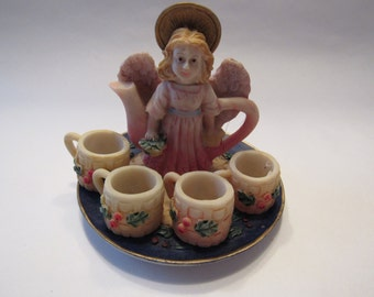 Miniature angel tea set