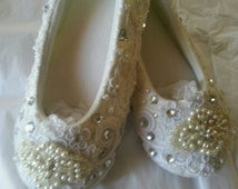 White Ivory Satin Wedding SHOE-SLIPPER Bridal Ballet Custom Made Pearls & Crystals  Ballerina Comfortable!  On Sale!