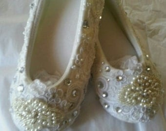 White or Ivory Satin Wedding Bridal BALLET SLIPPERS Custom Pearls & Crystals Destination Ballerina Comfortable!  NOW On Sale!