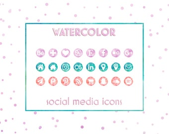 Social Media Icons, Watercolor Icons, Watercolor Buttons, Blog Icons,Business Cards Icons, Website Icons, Resume Icons, Social Media Buttons