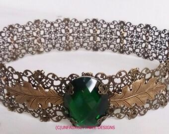 Medieval Tudor Gothic Emerald Green Crown dark Gold Metal for men and women larp ren sca thrones stage