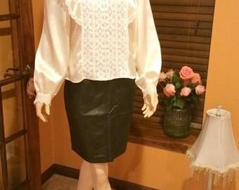 Vintage 80s secretary lace satin woman's blouse