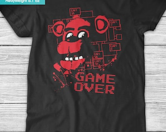 New FNAF Five Nights at Freddy's Game Over Youth Kids Shirt and Toddler Shirt Sizes