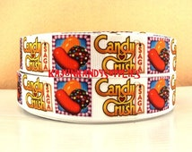 "1 YARD 1 Inch(25mm) Printed Grosgrain""White Candy Crush"""