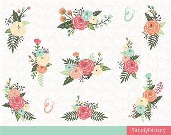 Floral Clipart, Flower Clipart, Floral Bouquet, Vintage Floral, Floral Clipart, Wedding Floral, 11 images, 300 dpi. Eps,Png files.Wedding016