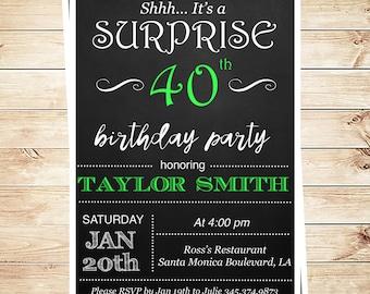 Chalkboard Birthday Invitation for any age 30th 40th 50th 50th 70th 80th and any age, Surprise birthday Party, DIY Party Invitation