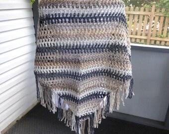 Crochet Shawl ~ Lightweight Scarf ~ Any Season Scarf ~ Tan Shawl ~ Triangle Fringe Scarf ~ Crochet Fringe Scarf ~ Boho Scarf