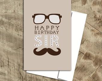 Birthday Card for Him, moustache happy birthday card, father birthday card