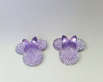 Purple cabochon, minnie mouse flatback, resin embellishment ,scrapbooking, cardmaking, hairbows supply