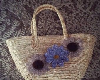 Vintage Straw Purple flower Handbag