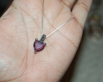 "Sterling Silver 16"" Chain Amethyst Pendant Necklace Heart Shape Marcasite Grey"