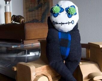 The smugglers-MYOS/Ferryman-Myos, OOAK, Art Doll, Soft Doll, Skull, Fleur Bleue, Plush, soft plush, embroidery