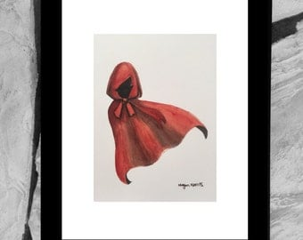 Little Red Riding Hood Watercolor Illustration Art Print, Fairytale Art Print