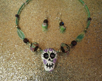 Day Of The Dead Necklace In Purple & Green