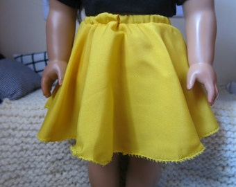 Bright Yellow Circle Skirt for American Girl 18inch Dolls