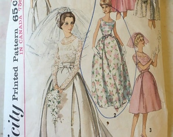 1963 Simplicity Wedding Dress/Bridesmaid Dress Pattern 5343