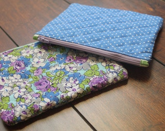 Quilted Travel Zipper Pouch in Floral or Polka Dot-- Makeup Bag, Toiletry Holder, Coin purse, Teen Feminine Product Holder