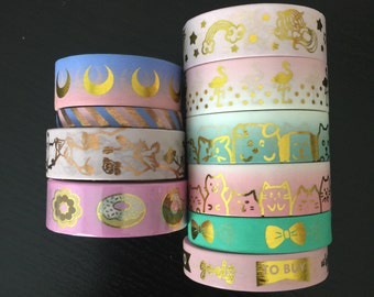 """24"""" SAMPLES of Simply Gilded and LoveCynthia foil washi tape (M50)"""