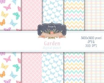 SALE Garden, butterflies, candy color, digital paper pack