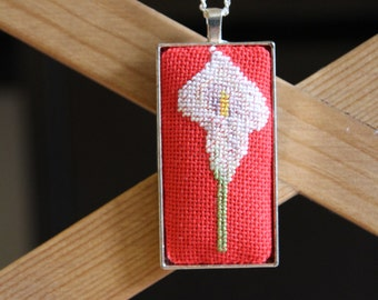 Cross stitch Necklace/Handmade Embroidered Jewelry/Gift For Her/Textile Pendant/Jewelry Cross Stitch/Faction Accessories/Calla