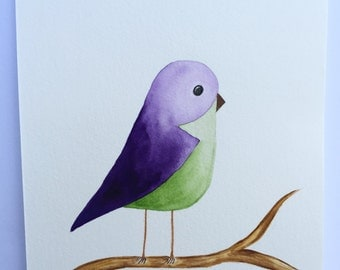 Bernie Bird in Watercolour Wall Art