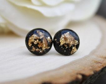 Black and Gold Studs / Glitter Earrings / Handmade Earrings / Hypoallergenic Stud Earrings / Bridesmaid Earrings