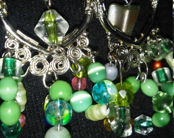 earrings beaded green assortment with hoops