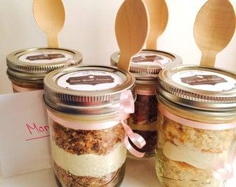 Jar Cake, Cupcake in a Jar, Gluten Free, Low Sugar, High Protein, Buttercream Frosting, Wedding Favor, Birthday, Graduation, Mason Jar