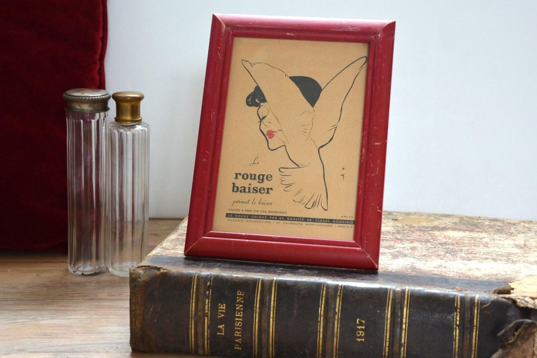 reproduction encadr e affiche de ren gruau rouge baiser. Black Bedroom Furniture Sets. Home Design Ideas
