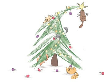 Cats in a Christmas Tree Card