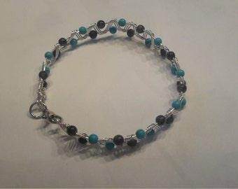 Turquoise and labradorite wired bracelet
