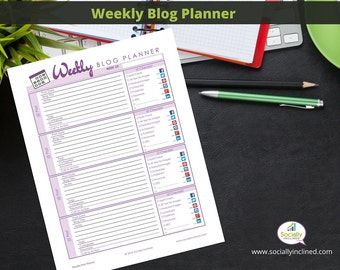 "Blog Planner - Blog Post Planner & Organizer - Printable - Weekly version 1 page 8.5 x 11"" Blog Kit"