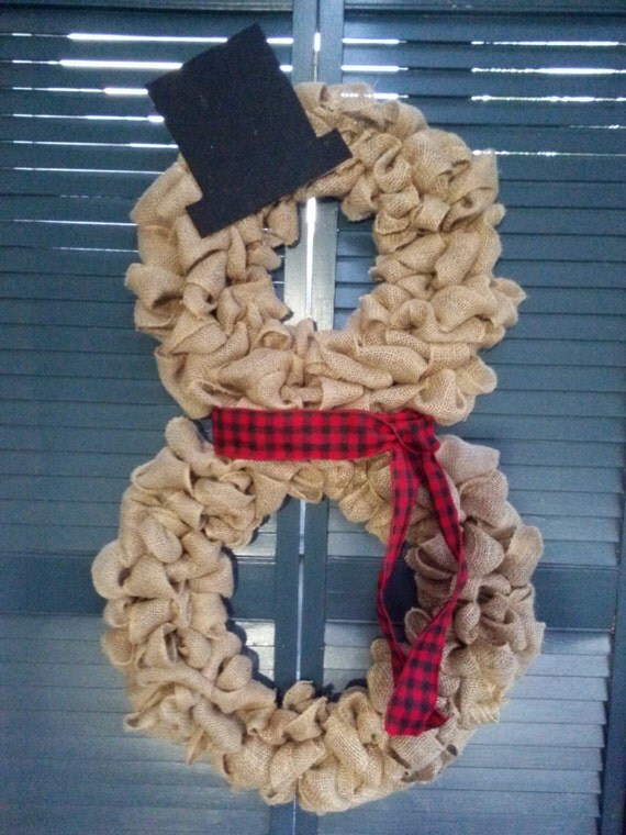 Burlap snowman wreath by sndchristmasshop on etsy for Snowman made out of burlap