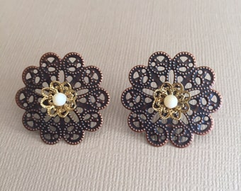 Bronze and Gold Flower Stud Earrings