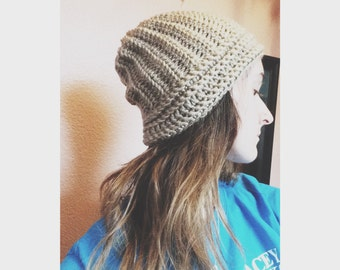 Beige thin ribbed stretchy beanie