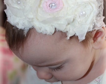 shabby chic baby headband with pink center