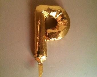 "Golden Balloon in Likeness of ""P"""