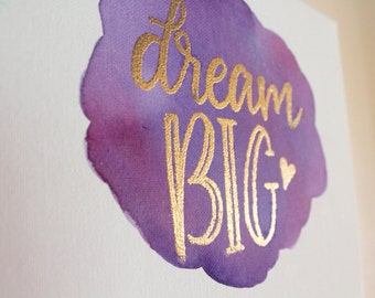 "8x10"" Dream Big Inspirational Painted Canvas"
