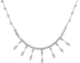 2.00 Carat Diamond Fringe 14K White Gold Necklace