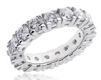 14K White Gold 3.25 tcw Round Brilliant Diamond Eternity Wedding Band