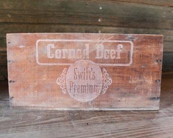 Swift's Premium Corned Beef wooden crate