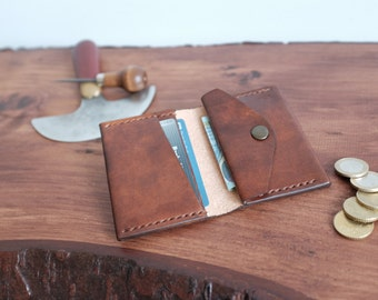 Handcrafted Leather Wallet with Coin Pocket, Leather Slim Wallet with Coin Pouch, Custom Leather Wallet